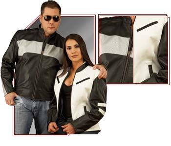 Buy Women's Leather Motorcycle Jacket - Two Color Combo