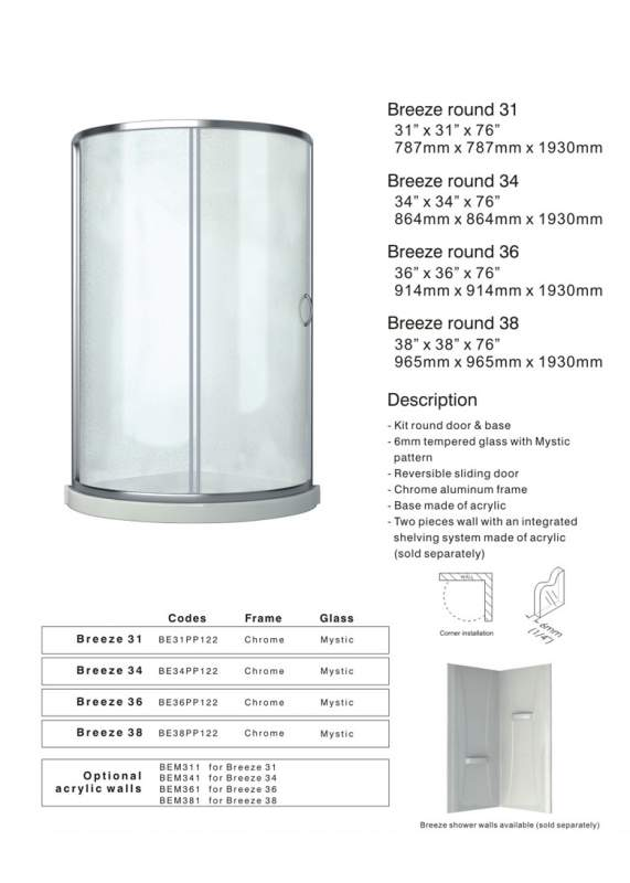Acrylic shower enclosures Breeze round 31-34-36-38
