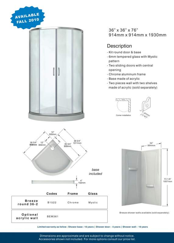 Breeze round 36-2 Acrylic shower enclosures