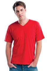 Men's Fine Jersey Fitted Short Sleeve V-Neck Tee 74093