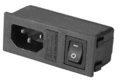 Power entry module with fuse & switch rated