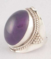 Cabochon AMETHYST and STERLING SILVER RING