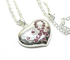 Silver Heart with Pink Crystal Ribbon Awareness