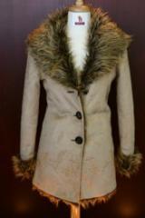 Faux Suede Jackets - Deer/Snow Long Coat