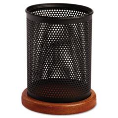 Distinctions Metal and Wood Pencil Cup, 3 1/2 dia. x 4 1/2, Black/Cherry