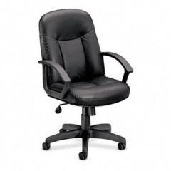 Leather Mid-Back Swivel/Tilt Chair VL601 r, Metal, 26w x 33-1/2d x 43h, Black