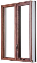 Hybrid windows with wood interior