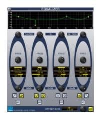 Equalizer with 4 parametric bands and additional Effect-Gain
