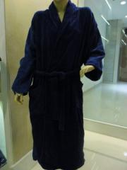 Terry Bathrobe with Velour and Cotton