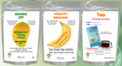 Breakfast Cereals with Tropical Fruits, Tropical Snacks, Hot Fruit drink