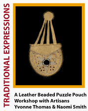 Leather Beaded Puzzle Pouch
